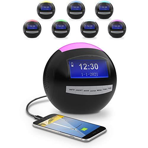 DAB+ Radiowecker für Schlafzimmer,FM Digitaler Wecker mit Snooze-Funktion,Nachtlicht,2 Weckzeiten,2 USB Anschlüsse,Sleeptimer,Batterie-Backup für Jungen Mädchen,Jugendliche,Kinder