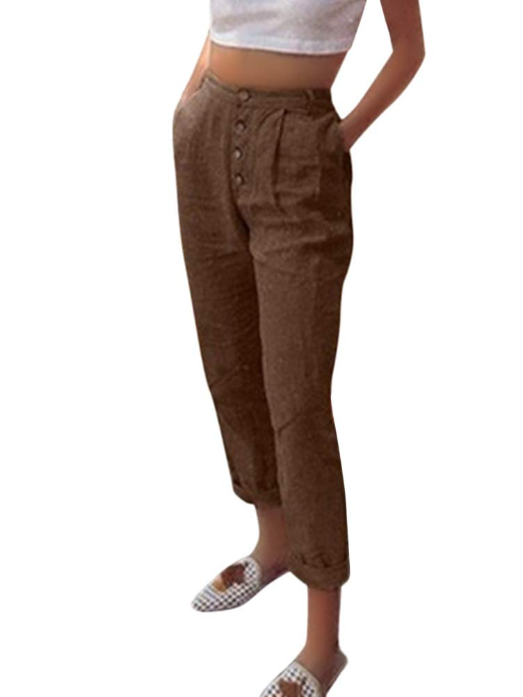 Pantalon en Lin Femmes Été Décontractée Chic Taille Haute Léger Élastique Solide Couleur Sport 7/8 Longueur Pants avec Bouton