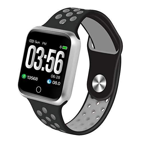 NUNGBE Podómetro de monitorización del sueño con frecuencia cardíaca Bluetooth, Pulsera Deportiva de Fitness Deportivo, Reloj Inteligente para Hombre-Black_Grey_Silver