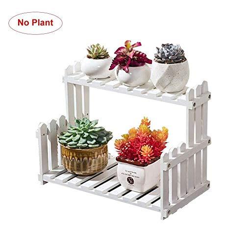 Khmyi Bloemstandaard Dubbele Tier Houten Hek Plant Bloempot Stand, Kruid & Plant Theater Display Plank Rek In Natuurlijke Hardhout