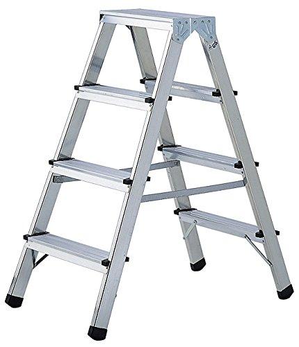 Brennenstuhl Doppelstufenleiter aus Aluminium 2x4 Stufen (beidseitig begehbare Alu-Stehleiter, 0,82m hoch, max. Traglast 150kg)