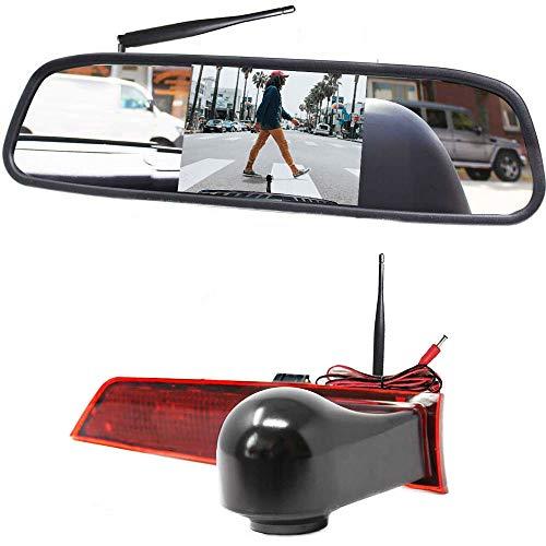 HSRpro 3. Bremslicht Digital Kabellose Funk Rückfahrkamera Kompatibel mit Ford Transit Custom. Eingebautem Digital im Spiegel Monitor - Bis zu 5 Jahre Garantie, Transporter Rückfahrsystem Kamera