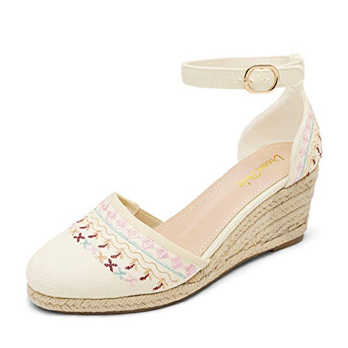 DREAM PAIRS Women's Beige White Closed Toe Ankle Strap Espadrilles Wedge Sandals Size 9.5 US Amanda-2
