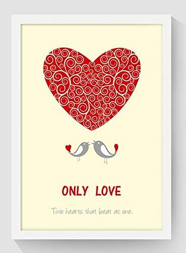 SDFSD Craeative Bunte Tier Cartoon Romantische Liebe Herz Hirsch Elch Giraffe Wal Kinderzimmer Home Decor Poster Leinwand Malerei 50 * 70cm
