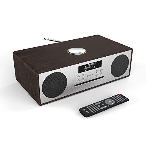 Majority Oakington DAB/DAB+/UKW Radio mit eingebautem CD-Player und Bluetooth, Fernbedienung mitgeliefert, integrierter AUX- und USB-Anschluss, Aufladung über USB möglich