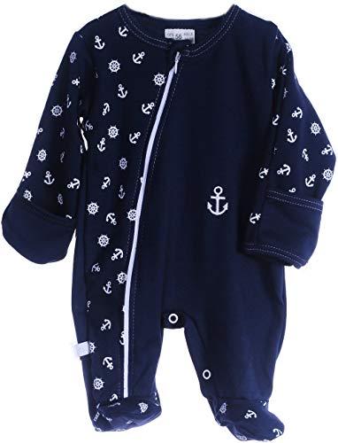 Strampler Baby Schlafanzug mit Reißverschluss Overall 50-104 Anzug Maritime Look, Größe: 80