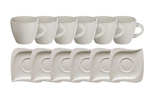 Mäser, Serie La Musica, 6 Kaffee-Obertassen à 23 cl und 6 Kaffee-Untertassen à 13,5 cm, im 12er-Set, Porzellan in der Farbe Beige