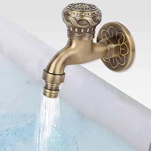 Cuque Regalo De Abril Grifo de Agua de Latón Antiguo G1 / 2', Lavadora Baño Lavadora Montado en la Pared Grifo de Agua Solo Grifo Frío