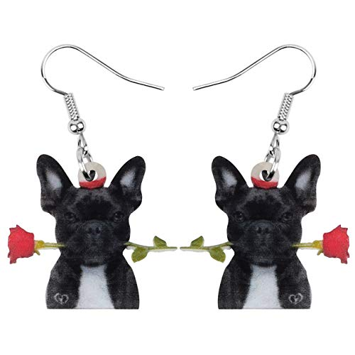 Bonsny Acrylic Valentine's Day Black French Bulldog Dog Rose Earrings Drop Dangle Jewelry For Women Gift Charms