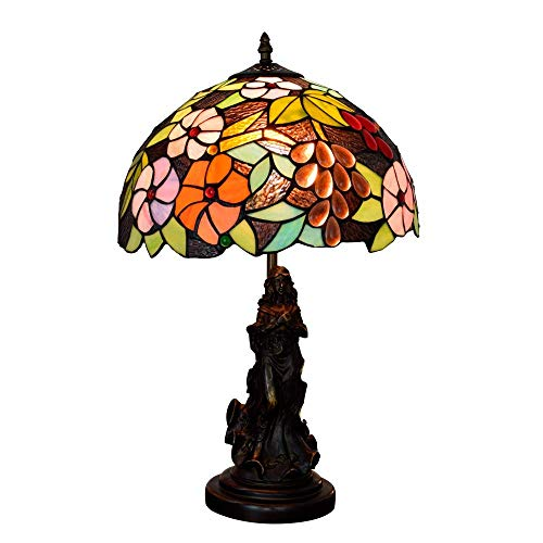 BINGFANG-W Dormitorio 12 Pulgadas Pastoral Flor de la UVA de la Vendimia lámpara de Escritorio Sala Comedor Dormitorio de Noche Bar Simple del Estilo del Vector de Tiffany de Cristal de la lámpara de