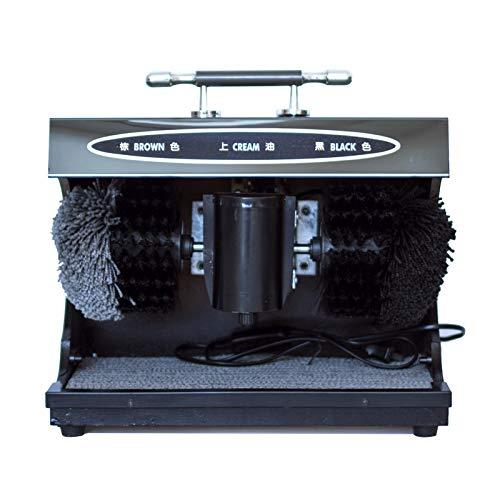 QFFL Máquina para lustrar Zapatos, sensores automáticos con Enchufe eléctrico, máquina para lustrar y lustrar con 2 cepillos para Limpiar la luz del Brillo, Zapatos Oscuros , Cepillo de Limpieza