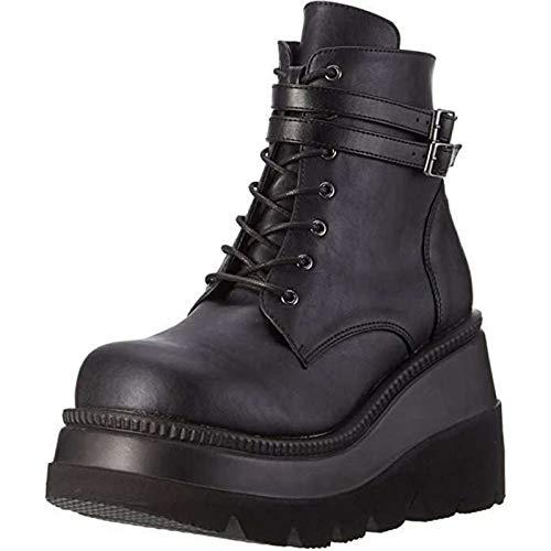 JXILY Señoras de La Plataforma de Alta Botas de Moda Los Tacones Altos Cargadores del Tobillo de Las Mujeres del Partido Acuña Los Zapatos de Tacón Mujer Mujeres Sexy Chunky Heel Boots,Negro,37