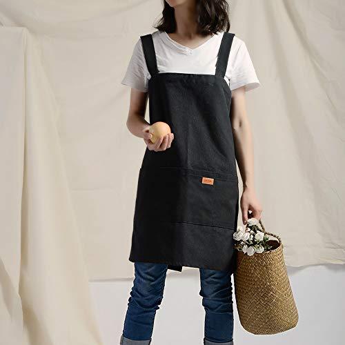 YXDZ Moda Mujer Lienzo Falda Delantal Hogar Cocina Tienda De Té Café Floristería Nail Art Ropa De Trabajo Negro 64 * 101 Cm