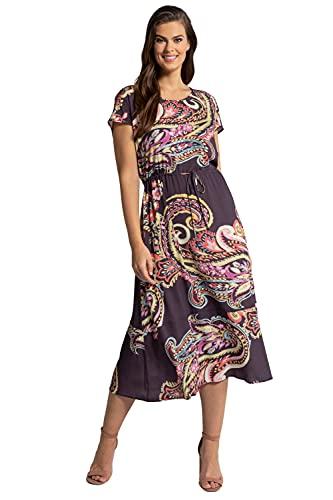 Ulla Popken Damen große Größen Übergrößen Plus Size Maxikleid, Paisley, Taillenband, A-Linie, ärmellos magnolienrot 50+ 794470820-50+