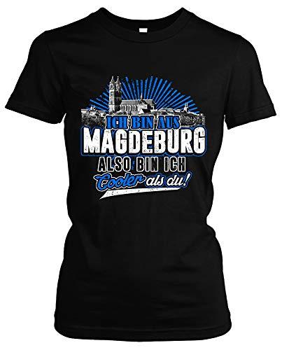 Cooler als du Magdeburg Damen Girlie T-Shirt | Fussball Skyline Trikot Sport Ultras Fun (M)