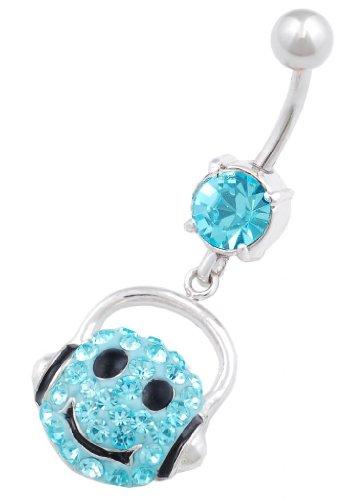 Nabel bauchnabel piercing stecker Chirurgenstahl mit Swarovski Kristalle Smiley anhänger KAAI0