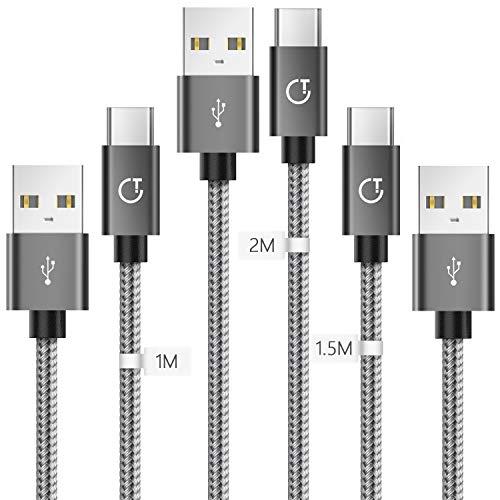 Gritin USB C Kabel, [3 Pack 1m+1.5m+2m] Typ C Ladekabel Schnellladekabel Stabil & Beständig für Samsung Galaxy S10/S9/S8+, Huawei P30/P20 HTC, OnePlus, Tablet usw.
