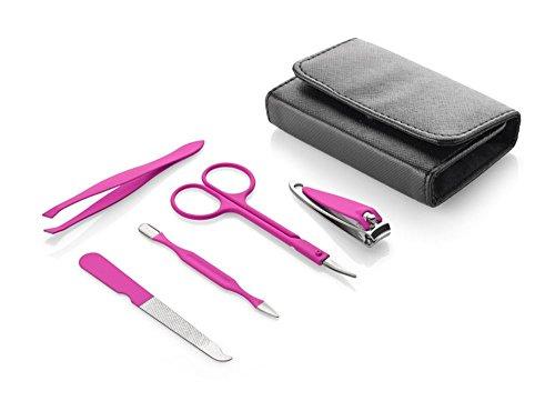 Maniküre Set Pink | Etui | Metall | PU Leder – Pflegeset – Geschenk – Damen – 5- teilig Reißverschluss Feile Schere Pinzette Knipser Nagelhautentferner