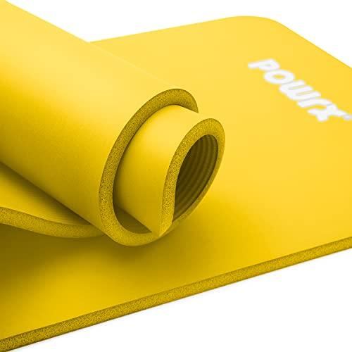 POWRX Tappetino Fitness Antiscivolo 190 x 60 x 1,5 cm - Ideale per Yoga, Pilates e Ginnastica - Extra Morbido e Spesso 1,5 cm - Ecocompatibile con Tracolla e Sacca Trasporto + Poster (Giallo)