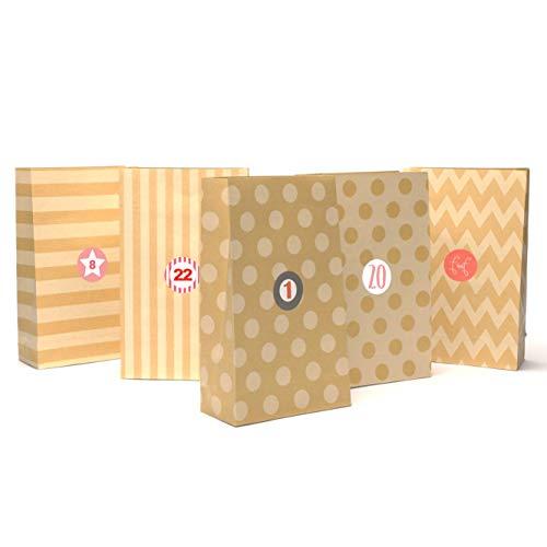Plantvibes 24 Adventstüten aus hochwertigem Kraftpapier mit schönem Muster inkl. Sticker, Vintage Papiertüten für Adventskalender zum Selber-Machen für Kinder, Weihnachtstüten, Geschenk-Taschen