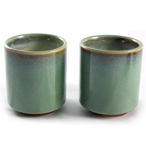 Paar Japanische Steinzeug Teeschalen - Erdig Grün-Braun