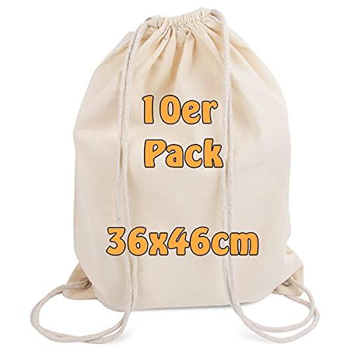 Lot de 10 sac à dos de gym modernes avec cordon de serrage en toile de coton naturel - 36 x 46 cm