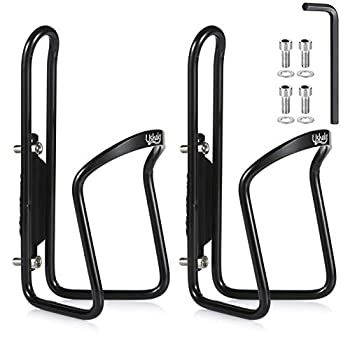 USHAKE Water Bottle Cages Basic MTB Bike Bicycle Alloy Aluminum Lightweight Water Bottle Holder Cages Brackets 2 Pack- Drilled Holes Required