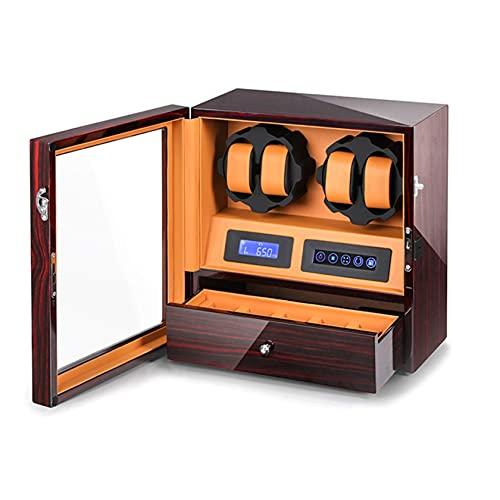 N\C Devanadera de Reloj y Caja de Almacenamiento, Caja giratoria de Reloj automática, 4 bobinadora de Reloj con 6 Ranuras de Almacenamiento, Organizador de Joyas y luz Interior LED QZQQ