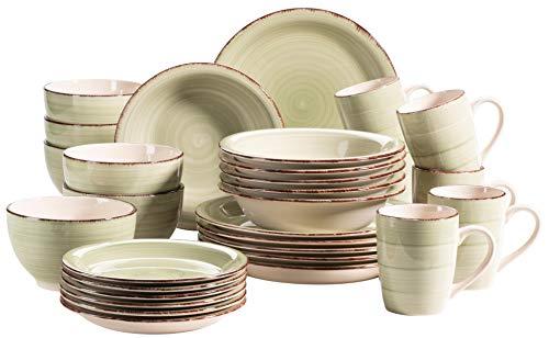 MÄSER Bel Tempo II Set di stoviglie Vintage per 6 Persone, in Ceramica Dipinta a Mano, Colore: Verde, Gres