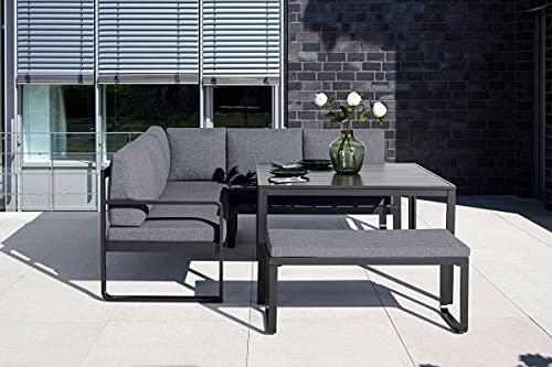 KETTLER Ocean Sitzgruppe Garnitur in Anthrazit-Grau aus Aluminium, inkl. Sitzpolster, Loungegruppe für 6 Personen mit Kissen