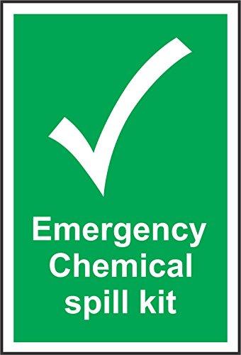 INDIGOS UG - Pegatina - Seguridad - Advertencia - Señales de emergencia Kit de derrame químico Señal de seguridad - Autoadhesivo 200 mm x 150 mm - Adhesivo para oficina, empresa, escuela, hote