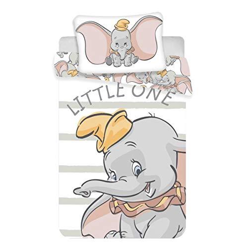 Dumbo Baby Bettwäsche Set 2tlg. 100% Baumwolle Größe: 100x135 cm, 40x60 cm, ÖkoTex Standard 100