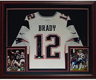 4d5f310018a02 Tom Brady Autographed Signed Auto New England Patriots White #12 Nike  Deluxe Framed Jersey TriStar