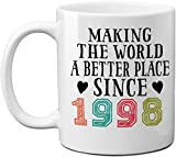 1998 22nd Birthday Mugs for Men, Women, Birthday Gift for Him, Her, Making The World A Better Place Since 1998 Coffee Mugs, 22 Years Old Vintage Birthday Presents for Friends, Coworker 11oz White Mug