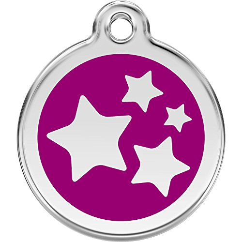 Red Dingo Personalized Stars Pet ID Dog Tag (Small Purple)