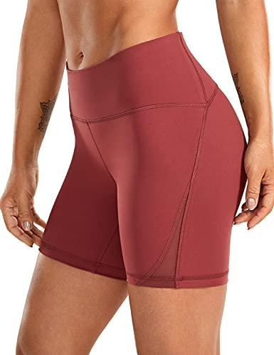 CRZ YOGA Pantalón Corto para Mujer Malla Shorts con Bolsillo Cremallera - 15cm Sabana 44