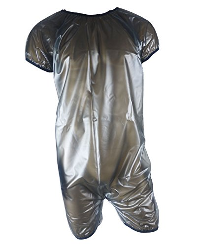 Haian Pelele unisex transparente supersuave de PVC para adultos (grande, negro transparente)