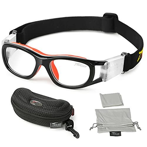Panlees Gafas de deporte con correa elástica ajustable para envolver gafas de seguridad para fútbol, baloncesto, motocicleta, deportes al aire libre - SHSG05, Orange(5-15 Child)