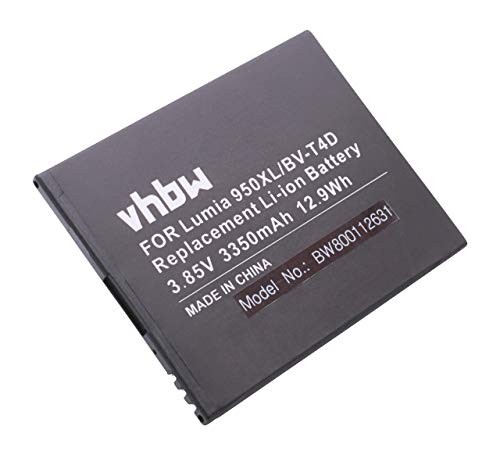 vhbw Li-ION Batterie 3350mAh (3.9V) pour téléphone Portable Smartphone Microsoft/Nokia Lumia 950 XL, 950 XL Dual Sim, 950XL, Cityman comme BV-T4D.