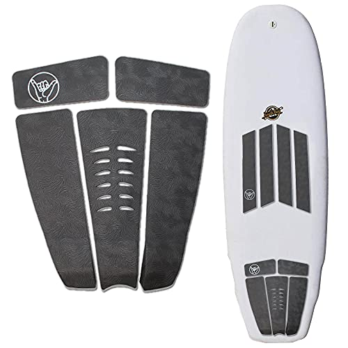 South Bay Board Co. - Surfboard Traction Pads - 5pc Rear Traction Pad or 4pc Front Traction Pad - Comfortable 'Fingerprint' Textured Stomp Pads for Un-Matched Foot Grip - Surf & Skimboard Ready