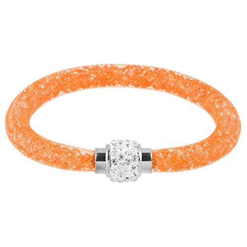 Mianova Damen Armband Armreif Stardust mit Kristallen Glitzerkugel und Magnetverschluß Orange