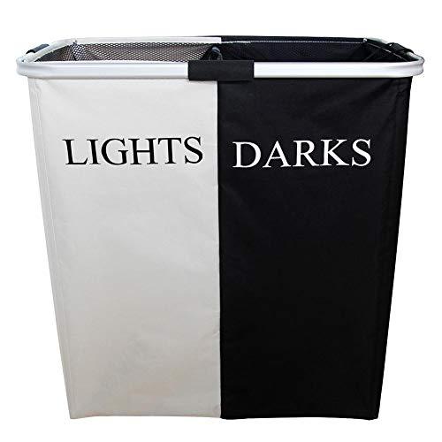 Opvouwbare wasmand sorteerder, dubbele vakken zwart en wit wasmand voor vuile wasgoed, opvouwbaar, lichtgewicht aluminium bewaarmand van Oxford-stof.