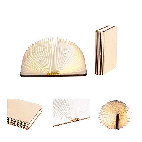 LEDR® - Buchlampe Book Lamp LED Buch Lampe Nachttischlampe Nachtlicht dekoratives Licht - USB Kabel enthalten - Wasserdicht - 100% DuPont™ Tyvek® Recyclingpapier (Ahornfarben: 12 x 9 cm)