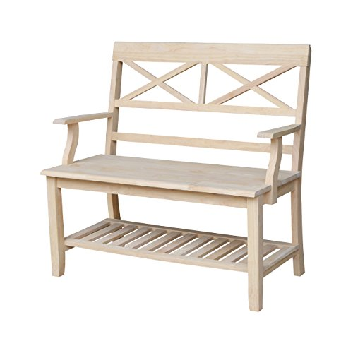 International Concepts Double X- Back Bench, Unfinished
