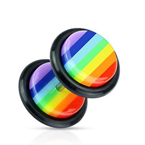 Paula & Fritz® Fake Plug aus Acryl Gestreift in Regenbogenfarben mit Gummiring.