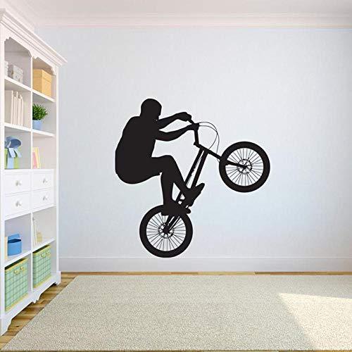 Fahrrad Wandtattoo Freestyle Dirt Bike Outdoor Sport Personalisierte Teenager Jungen Schlafzimmer Wohnzimmer Home Decor Vinyl Aufkleber-schwarz_42x43 cm