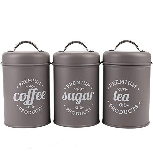 WillowswayW 3PcsSet Tea Coffee Storage Canister Sugar Food Storage Box Kitchen Spice Jar with Lid
