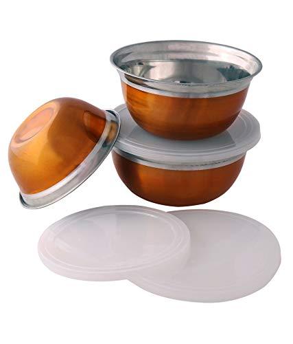 Whopper roestvrijstalen mengkommen met luchtdichte deksels, 3-delige metalen kommen, nestschalen met antislipbodems, grootte - 0,6, 1, 1,5 liter geweldig voor mengen en serveren, kastanjebruine kleur