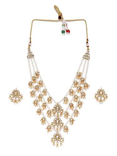 Zaveri Pearls Ethnic Kundan & Pearls Multi Layers Bridal Necklace Set For Women-ZPFK8689