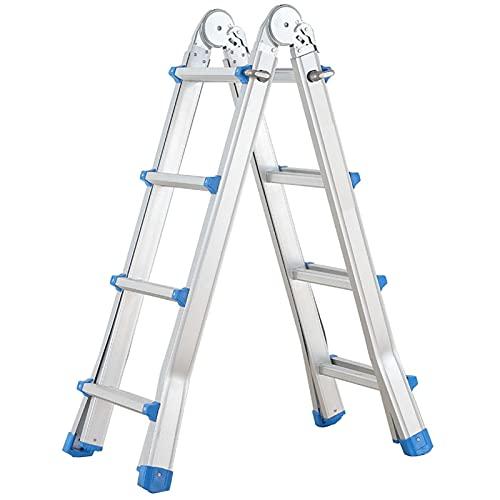 SUBBYE Escalera Extensible Telescópica De Múltiples Fines Escalera de Extensión por Techo Ático RV Trabajo al Aire Libre, Portátil Aluminio Escalera Telescópica en Espiga - Capacidad de 150 Kg